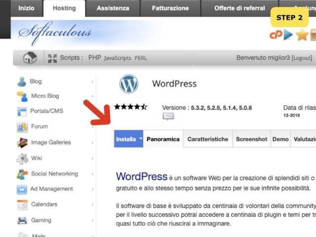 come installare wordpress su cpanel step 2