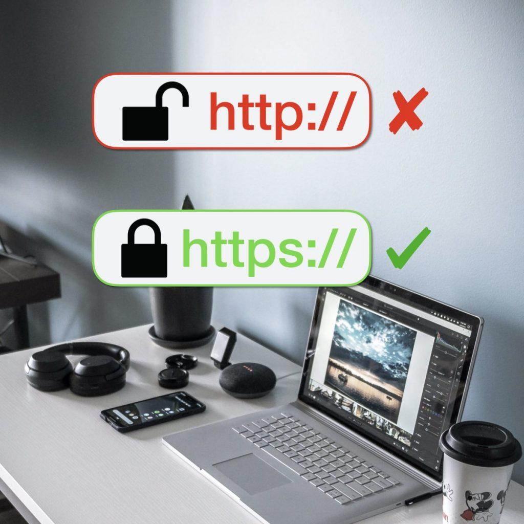 sito web con certificato di sicurezza ssl per un sito sicuro e protetto e visualizzato su google